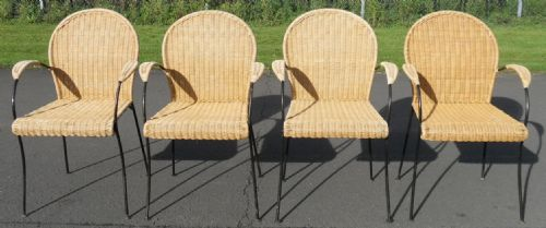 Set of Four Retro Wicker with Metal Frames - Armchairs